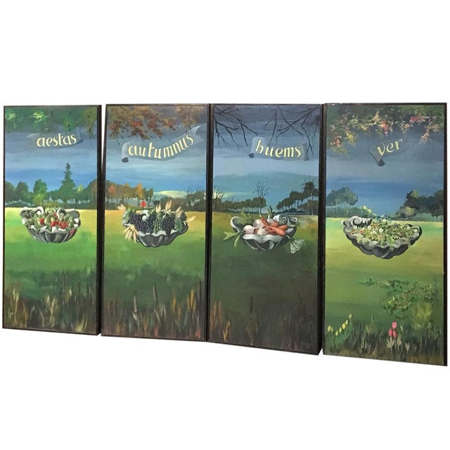 Set of 4 Large Scale Vintage Four Seasons Paintings For Sale