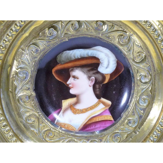 Antique European Portrait Charger. Ornate Brass Repousse Charger Frame Surrounds a Beautiful Hand Painted Portrait on a...
