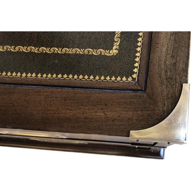 1970s Campaign Sligh Mahogany Brass & Leather Writing Desk For Sale - Image 9 of 12