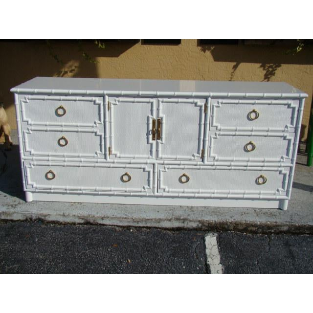 Bamboo rattan long dresser. Great for Palm Beach, regency or Chinoiserie style decor. 6 drawers with center cabinet and 2...