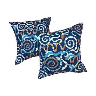 Blue & Brown Snake Pillows - A Pair