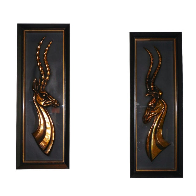 Hollywood Regency Gazelle Shadow Boxes - A Pair - Image 1 of 8