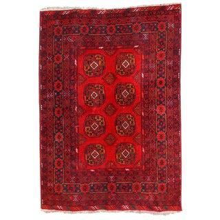 Vintage Afghan Ersari Rug - 4′7″ × 6′6″ For Sale