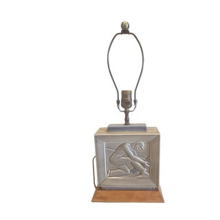 Art Deco Style Figural Motif Square Glazed Ceramic Lamp For Sale