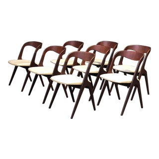 Set of 8 Walnut Danish Dining Chairs by Povl Dinesen For Sale