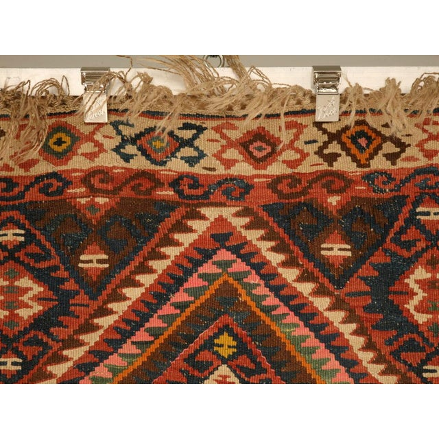 Islamic Circa 1930 Persian Kilim Geometric Patterned Rug - 5′2″ × 7′11″ For Sale - Image 3 of 10