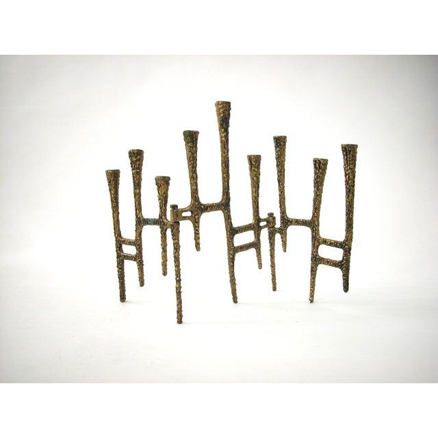 Brutalist Brass Trifold Menorah - Image 3 of 8