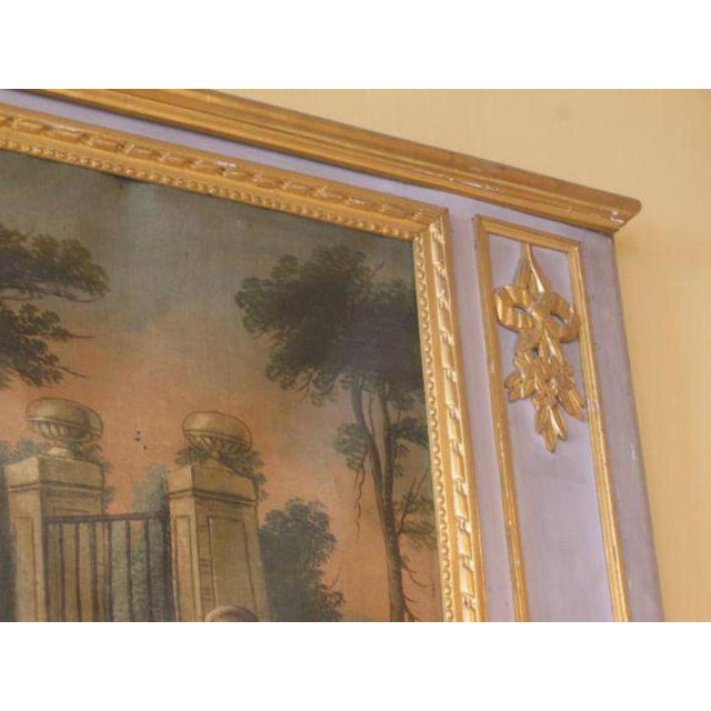 Louis XVI Style Elegant French Trumeau. Charming painting. Pale French blue color. Circa 1800.