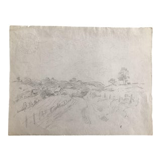 1930s Vintage Eliot Clark Country Landscape Drawing For Sale