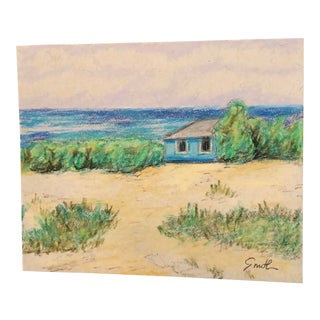 "Final Price! ""Blue Beach House"" Original Seascape Colored Pencil Drawing by Nancy Smith For Sale"
