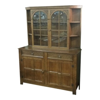 Vintage English Oak Buffet Display Cabinet Hutch Sideboard