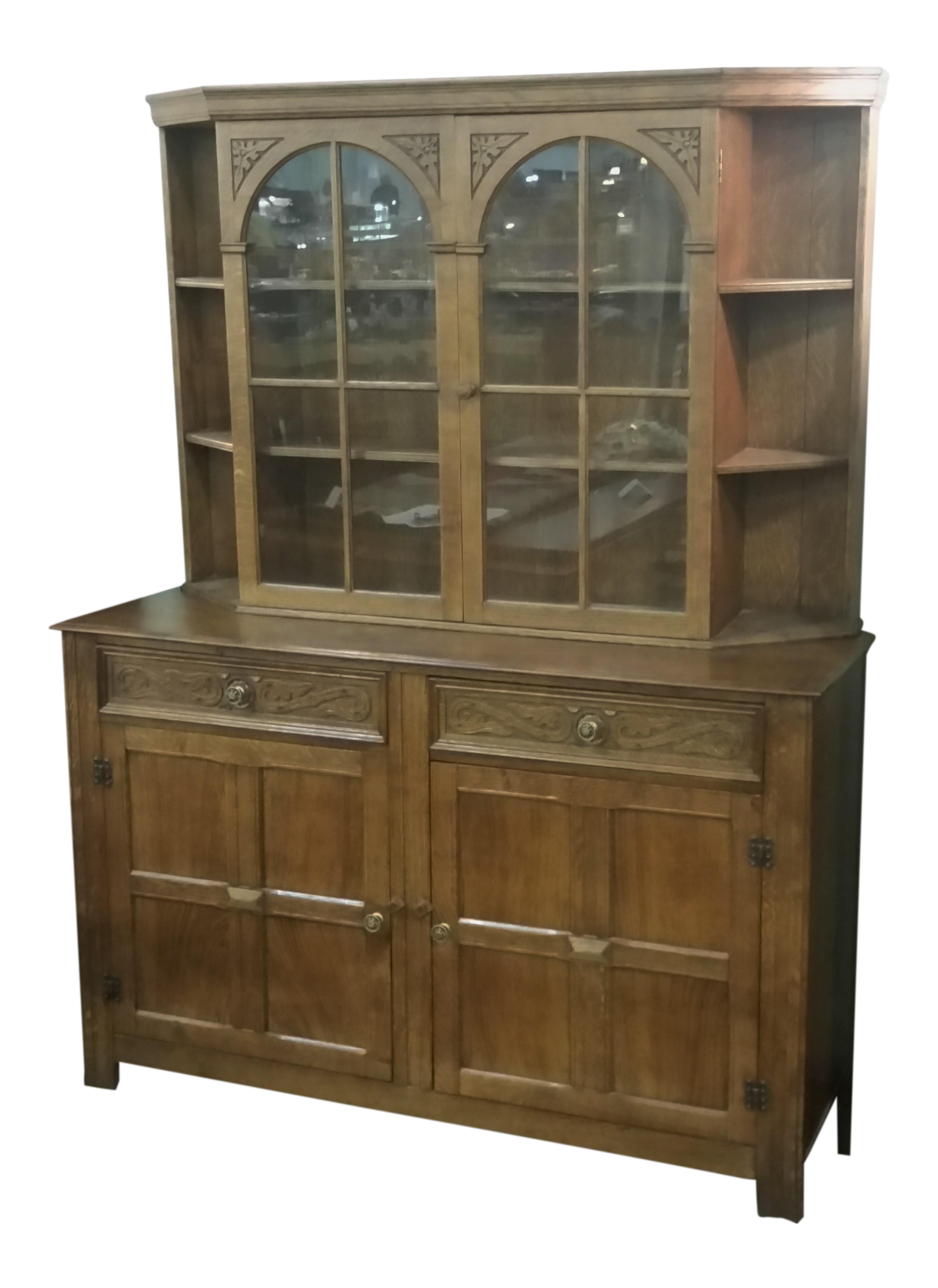 Good Vintage English Oak Buffet Display Cabinet Hutch Sideboard