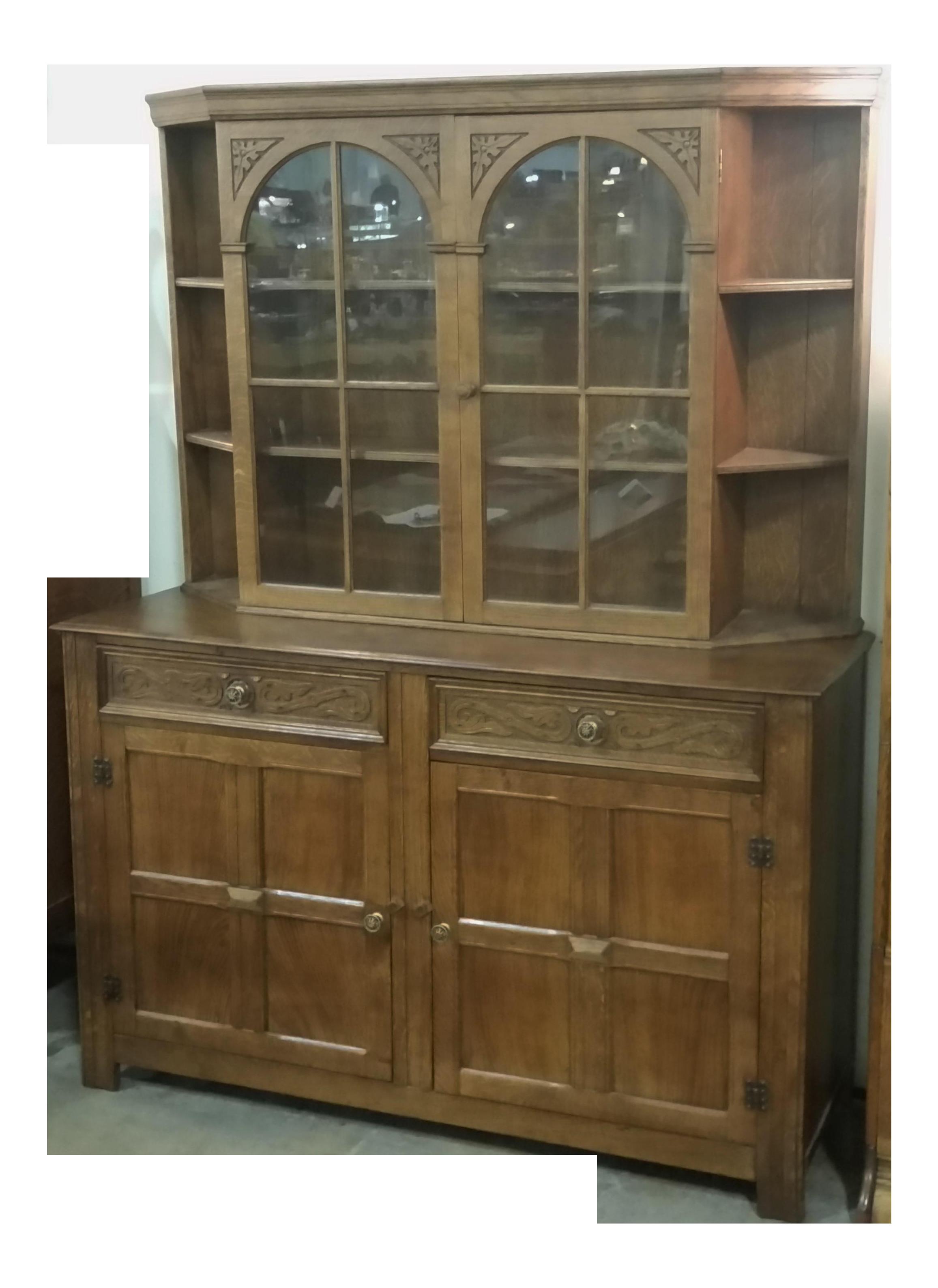 Vintage English Oak Buffet Display Cabinet Hutch Sideboard For Sale