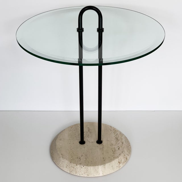 1980s Vico Magistretti Travertine and Glass Side Table for Cattelan Italia For Sale - Image 5 of 13