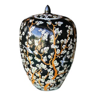 Chinoiserie Painted Cherry Blossom Ginger Jar For Sale