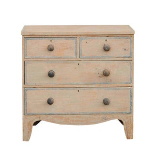 English 1840s Four-Drawer Commode with Original Paint and Valanced Skirt