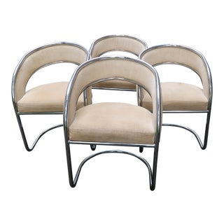 Mid-Century Modern Chrome Slingback Chairs - Set of 4