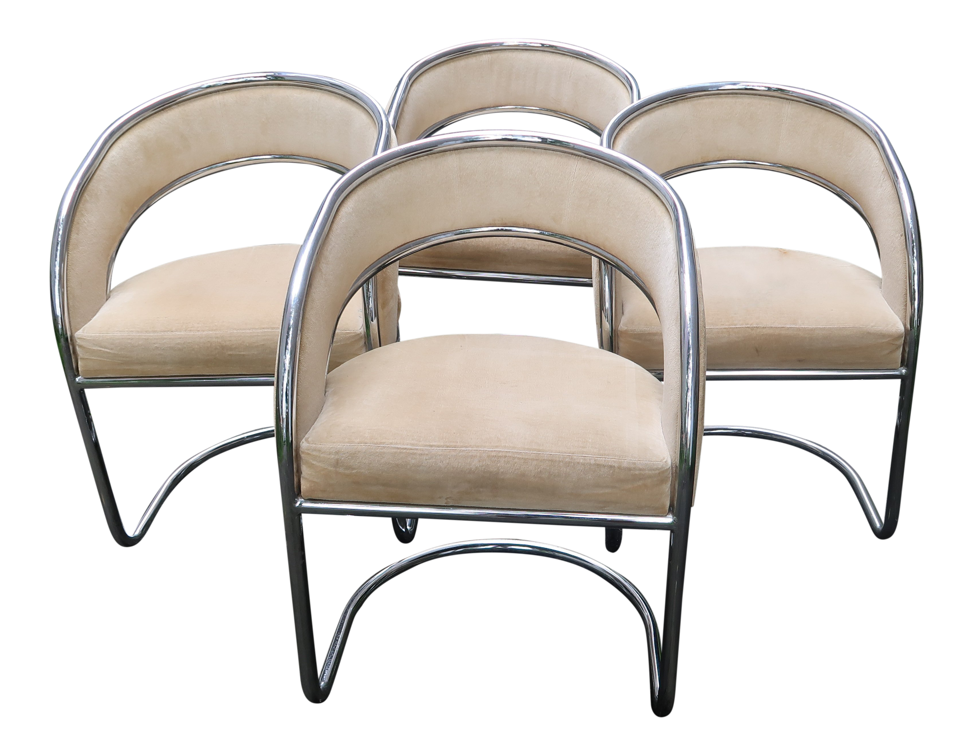Mid Century Modern Chrome Slingback Chairs   Set Of 4 For Sale