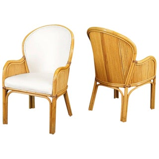 Rattan Frame Chairs With White Upholstery For Sale