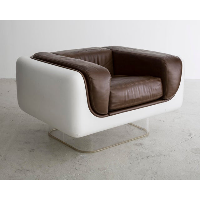 "Steelcase ""Soft Seating"" line lounge chair in leather with fiberglass body and lucite base. Made in USA circa 1972."