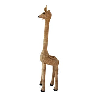 Vintage 5' Giraffe Wicker Planter For Sale