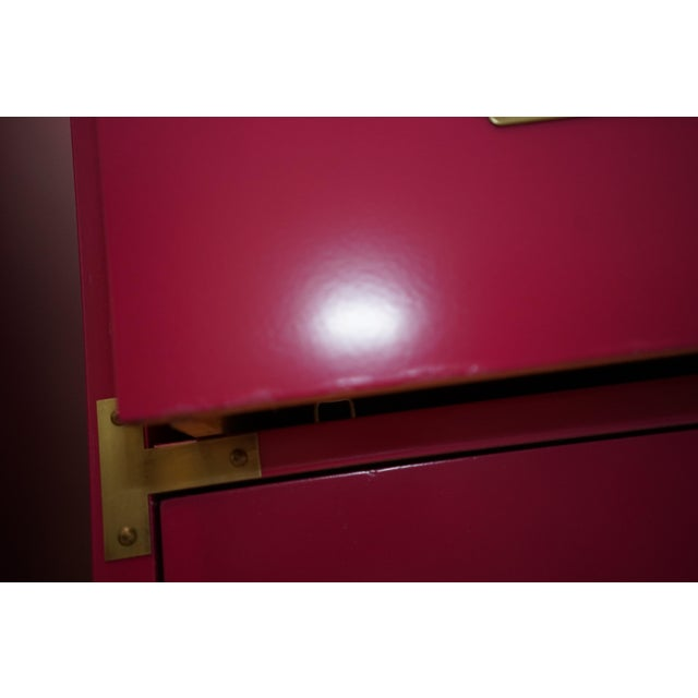 Campaign Lacquered Fuschia Bachelors Chests - a Pair For Sale - Image 9 of 13