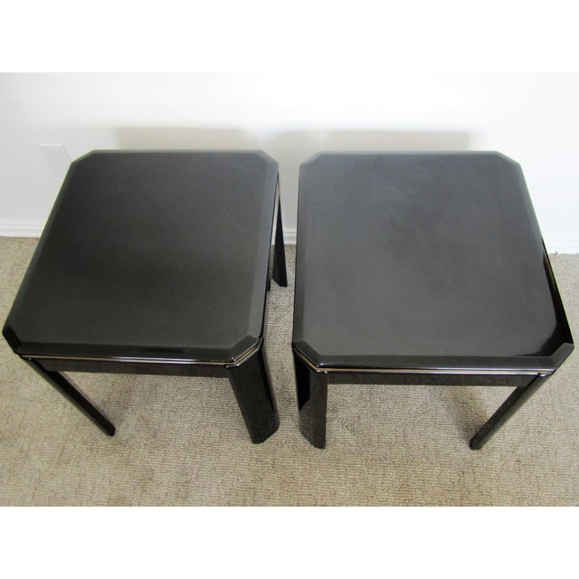 Vintage Modern Black Lacquer & Brass Tables - Pair - Image 3 of 10