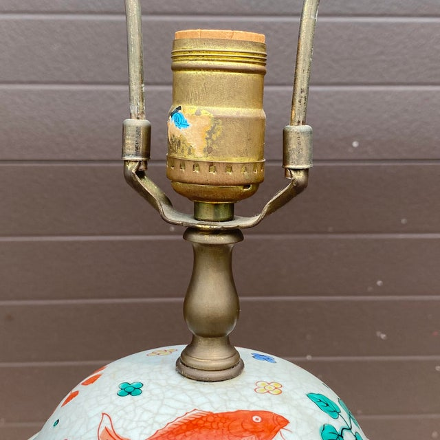 Porcelain Ginger Jar Koi Lamp For Sale - Image 4 of 9