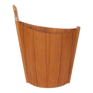 1950s Vintage Westnofa Teak Waste Basket For Sale