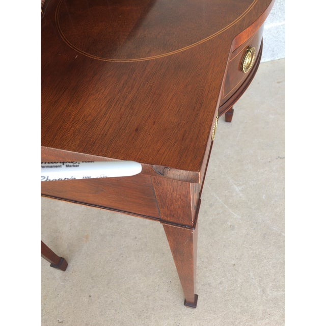 Brown Baker Furniture Inlaid Mahogany 9 Drawer Writing Desk For Sale - Image 8 of 9