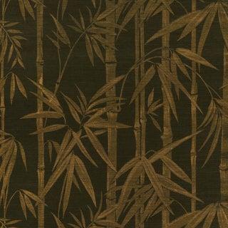 Sample - Schumacher Les Bambous Sisal Wallpaper in Gold on Jet For Sale