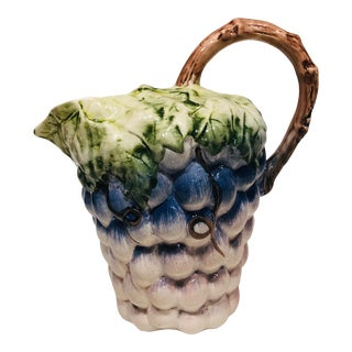 Vintage 1980s Hand Painted Grape Pitcher For Sale
