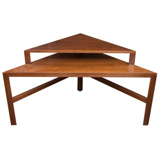 Mid-Century Two-Tiered Triangle End Table For Sale