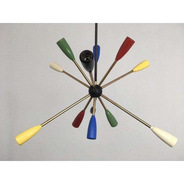 Mid-Century Modern 1950s Sputnik Pendant Chandelier Lamp in Different Colors For Sale - Image 3 of 9