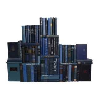 Midcentury Denim Book Wall : Set of Seventy Five Decorative Books