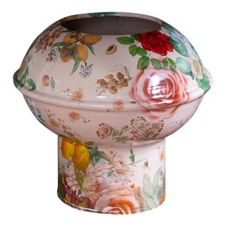 Featured in The 2020 San Francisco Decorator Showcase — Botanical Patterned Ceramic Urn by Linda Fahey For Sale