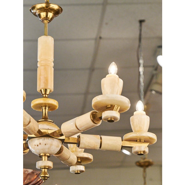 Gold Vintage Italian Brass Onyx Chandelier For Sale - Image 8 of 11