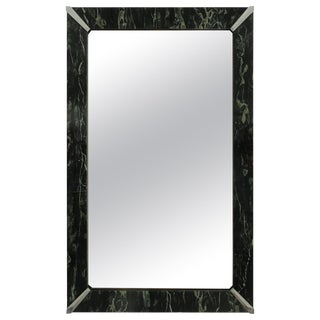 American Art Deco Style Faux Marble Glass Frame Mirror For Sale