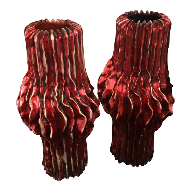 Italian Contemporary Red Vases - a Pair For Sale
