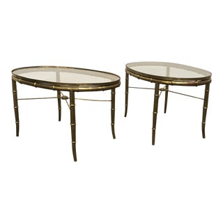1960s Mid-Century Modern Mastercraft Brass Glass Top Side Tables - a Pair For Sale