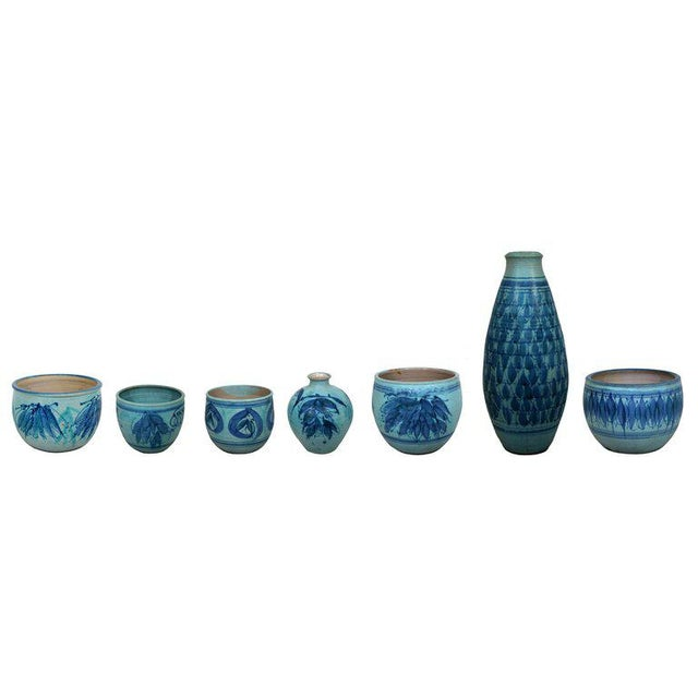 Ceramic Mid-Century Modern Signed j.t. Abernathy Blue Glazed Ceramic Pot, 1960s For Sale - Image 7 of 8