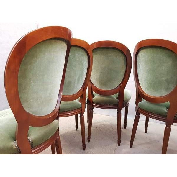 Green French Vintage Louis XVI Style Green Velvet Medallion Back Dining Chairs - Set of 6 For Sale - Image 8 of 13