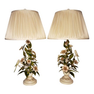 1950s Bird and Flower Tole Lamps With Shades - a Pair For Sale