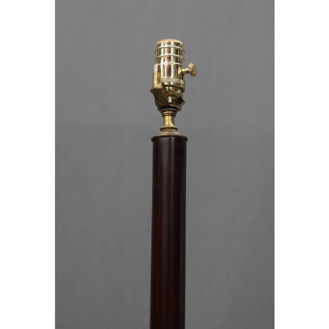 English Vintage Darker Wood Stain Floor Lamp With Gold Color Scroll Tripod Feet For Sale - Image 3 of 7