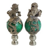 Image of Chinese Foo Dog Lamp Finials - a Pair For Sale