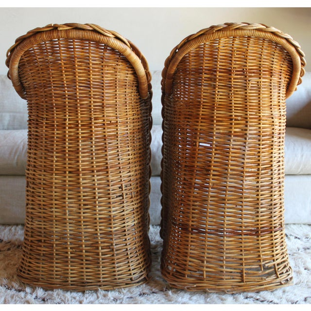 Gabriella Crespi Vintage French Woven Rattan Bar Stools - a Pair For Sale - Image 4 of 13