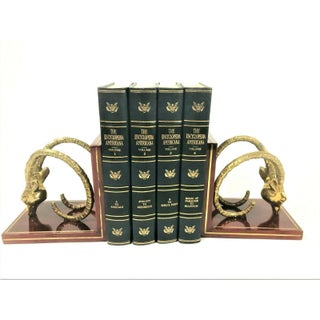 1970s Vintage Brass Onyx Gazelle Rams Head Bookends - a Pair Preview
