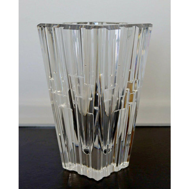 1980s Contemporary Modern Sweden Orrefors Signed Glass Vase Table Sculpture For Sale - Image 4 of 7