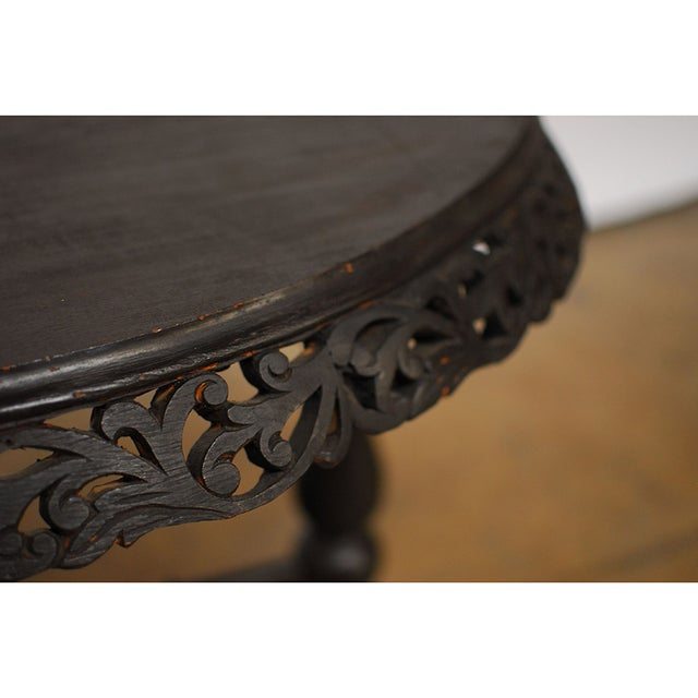 Vintage Carved Rosewood Oval Side Table - Image 4 of 6
