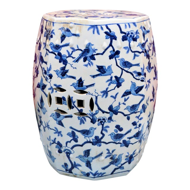 Chinoiserie Blue and White Porcelain Garden Stool With Birds For Sale